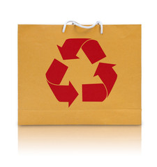 recycle sign on brown paper bag