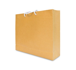 brown paper shopping bag isolated