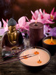 buddha witn candle and incense