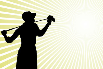 Golf player silhouette and green rays background 2