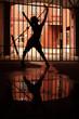Silhouette of dancing girl in dark, she kept behind lattice
