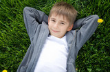 boy on the green grass