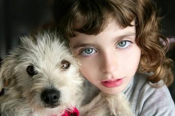 dog puppy pet and girl hug portrait closeup blue eyes