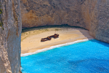 The Shipwreck beach at Zakynthos island in Greece