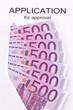 Euro Geldscheine und Antrag (Englisch)