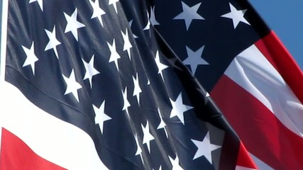 Le souffle du vent dans le drapeau des USA