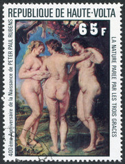 Postage stamp Upper Volta 1977: The Three Graces
