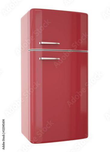 Red refrigerator. 3D render.