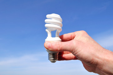 Hand Holding a Compact Fluorescent Light (CFL)