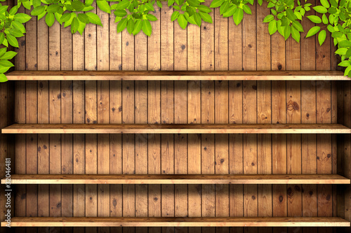 Wooden book shelf with leaves