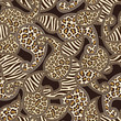 Paisley style seamless background with animal skin pattern