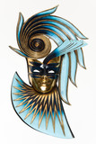 Abstract Masquerade Mask in blue and gold - 32049893