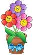 Detaily fotografie Pot se třemi karikatura květinami