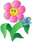 Karikatura květ s motýlem