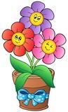 Pot se třemi karikatura květinami