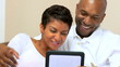 Young Ethnic Couple Using Wireless Tablet for Webchat
