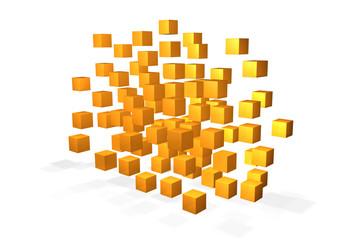 schwebende gelbe würfel