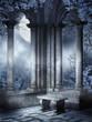 Gotyckie ruiny z kamienną ławką