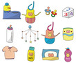 cartoon baby thing icon set
