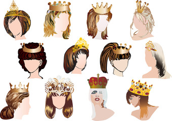 woman heads in gold crowns