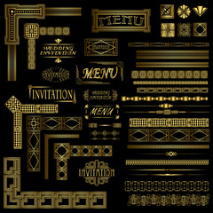 Decorative gold menu and invitation border elements