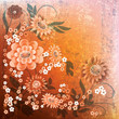abstract grunge floral background with flowers on orange