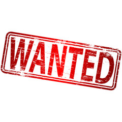 "Rubber stamp illustration showing ""WANTED"" text"