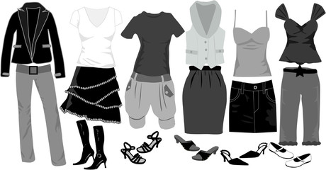 Women's fashion-large collection of clothes and shoes