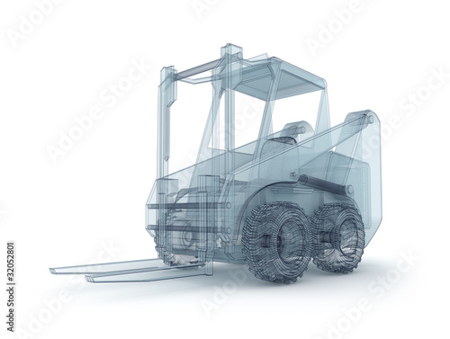 Forklift wire model isolated on white
