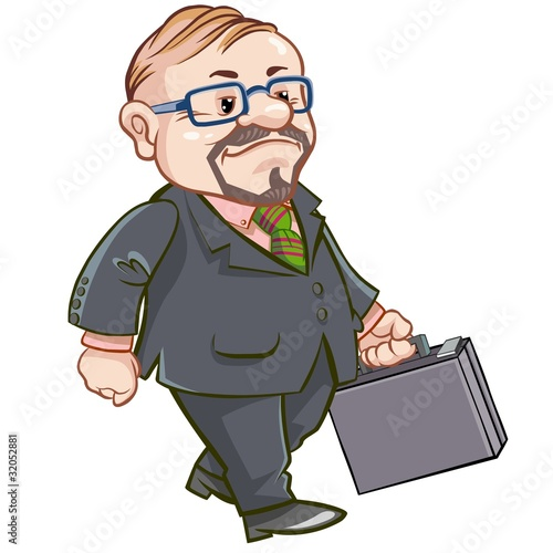 Cartoon walking businessman with briefcase.