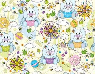 Cute seamless   pattern of flora and rabbits.