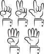 set of cartoon hand