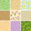 set of vector floral color seamless pattern with flowers