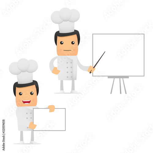 set of funny cartoon chef