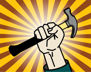 Abstract background with hand holding a hammer