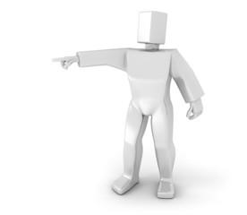 3D Man pointing forward
