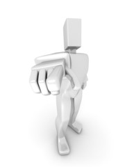 3D Man pointing forward front view