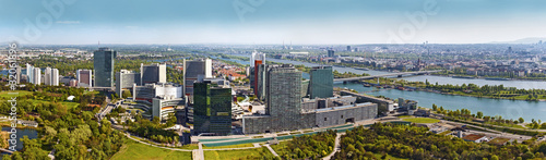Skyline of Donau City Vienna with Danube