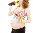 The pregnant woman with a bottle of beer and a cigarette