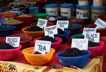 Different tea tastes at Indian street market.
