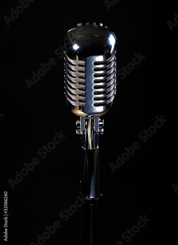 Staande foto Muziekwinkel Professional vintage microphone isolated on black background