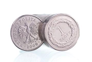 Polish one Zloty coins background