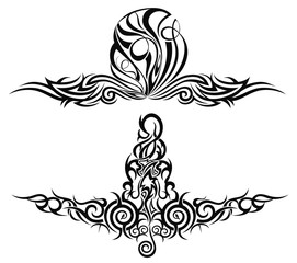 Set of tattoo design elements. Vector