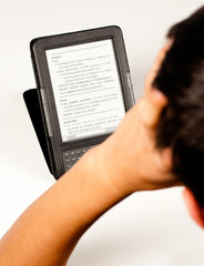 Student using an e-book