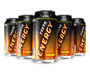Energy drinks in metal cans