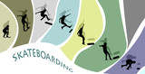 Skateboard sequence silhouettes poster