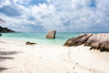 """plage touristique """"Anse Source d'Argent"""", la Digue, Seychelles"""