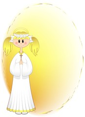 Bambina Prima Comunione Auguri-Girl First Communion Background