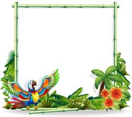 Pappagallo Ara sfondo Bambù-Macaw Parrot Bamboo Background
