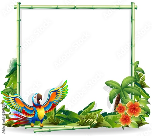 Pappagallo Ara sfondo Bambù-Macaw Parrot Bamboo Background